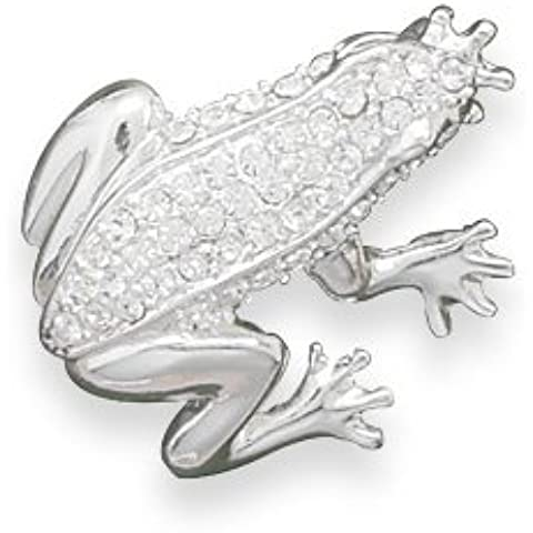 28 mm X 30 mm, placcato argento, con cristalli Swarovski trasparenti, a forma di rana, Fashion Pin - Gioielli Della Rana Pin