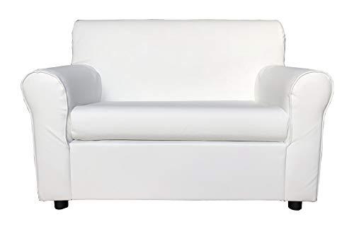 Totò piccinni divano 2 posti imbottito, con braccioli, (l) 120x(p) 75x(a) 88cm (ecopelle, bianco)