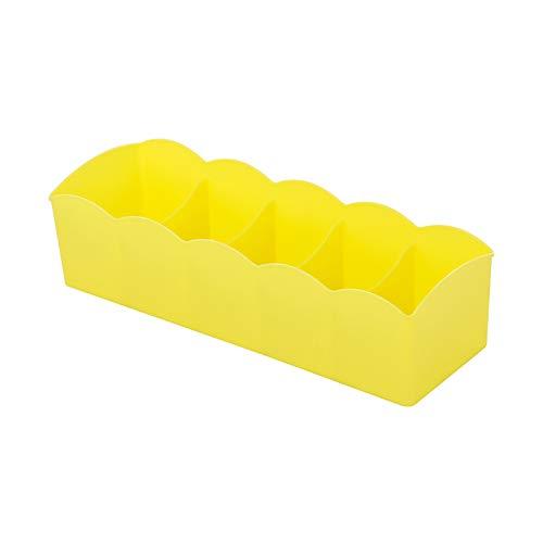 Romote Multi-Function 5 Grid-Storage-Box Control Box 1pc Unterwäsche Kunststoff Tabelle Speicher-Fach Organizer Stacker Für Classification Unterwäsche BH, 10,5 x 2,7 x 3,3 Zoll (gelb)