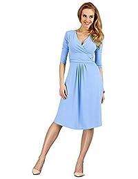 elomoda Kleid mit V-Ausschnitt in 10 Farben, Gr. 36 38 40 42, M84