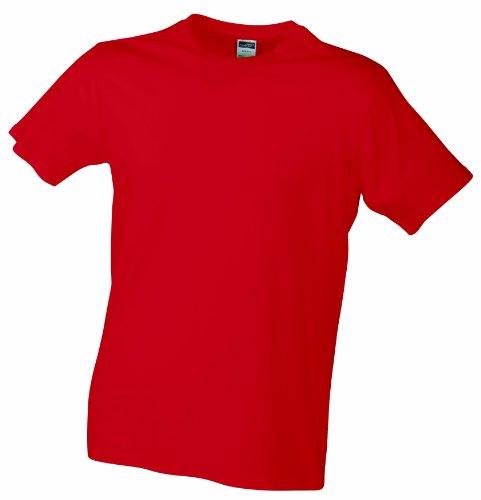 James & Nicholson - T-shirt Slim Fit, Maglia a maniche lunghe Uomo Rosso (Red)