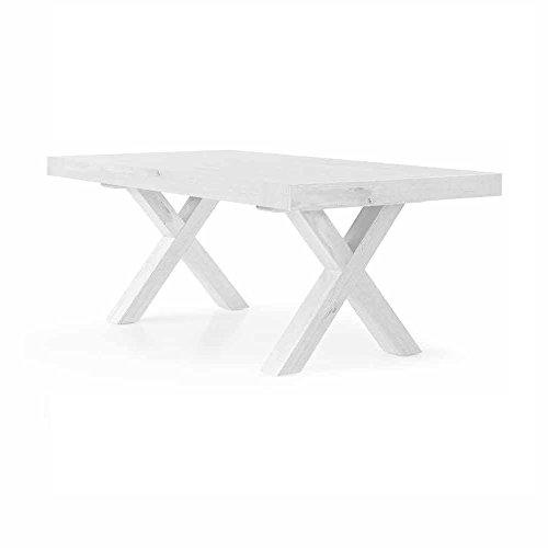 InHouse srls Table Extensible Blanc Pore Ouvert comportant 2 rallonges de 50cm, Style Moderne, en MDF laminé - Dim. 180 x 100 x 77