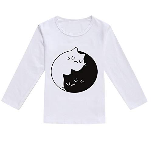 JUTOO Kleinkind Baby Kinder Jungen Mädchen Frühling Niedlichen Cartoon Print Tops T-Shirt Lässige Kleidung (Schwarz,100)