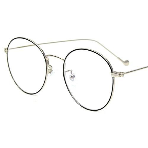 Sixminyo Retro Runde Brille Frame Clear Lens Glasses Brillen ohne Rezept für Damen, Männer (Color : Black-Silver)