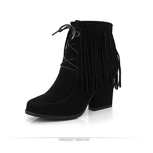 Herbst und Winter gefütterte Stiefel mit großen Stiefeln Damenschuhe, schwarz, 41