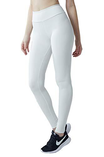 Wirezoll Sport Leggings Damen, High Waist Blickdichte Yogahose mit Tasche aus Baumwolle für Yoga, Gym, Laufen, Weiß, S