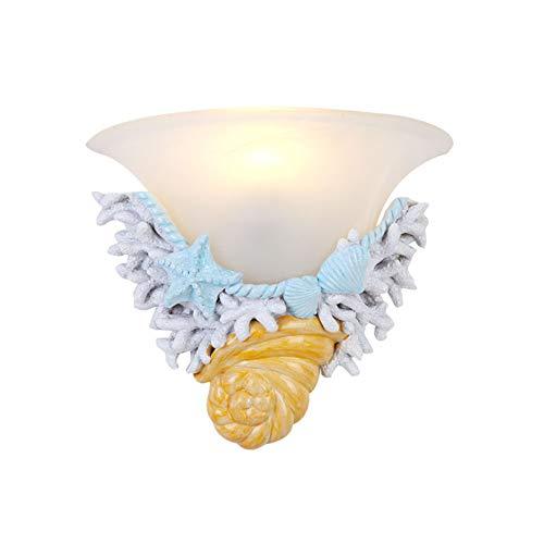 WLIGHT Wandleuchten, kreativ Harz Starfish Shell-Wand-Lampen-Kind-Raum-Lampe Hintergrund Wanddekoration Lampen Schlafzimmer Nachttischlampe -