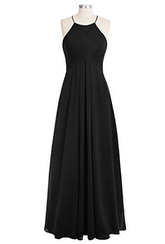 LuckyShe Elegantes gefaltetes Chiffon Fußboden Längen Abend Partei Kleid der Frauen brautjungfernkleid Schwarz