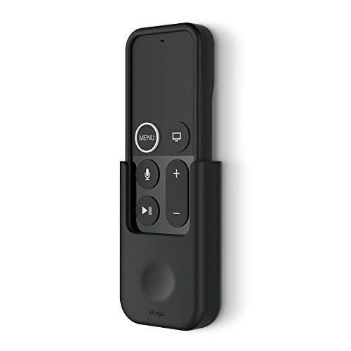 elago Remote Holder Mount Fernbedienungshalter Kompatibel mit Apple TV Siri Fernbedienung 4K 4. Generation - [Gel-Pad oder Schrauben Optionen] [Sicheres Halten] [Kabelmanagement] - Schwarz (Tv Remote Control-fall Apple)