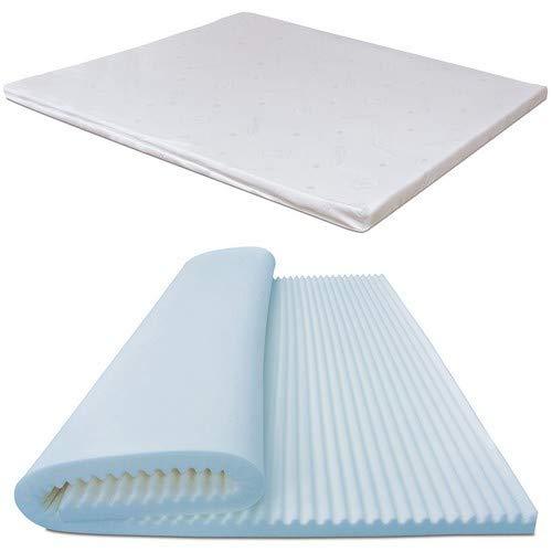 Baldiflex topper correttore materasso matrimoniale in memory foam fresh wave, fodera in maxicool sfoderabile, fresco, traspirante, ergonomico, antiacaro, 160 x 190 cm h 6 cm