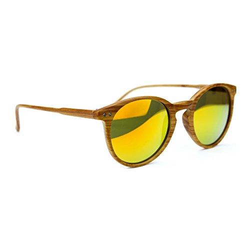 Occhiali da sole marca isurf rb rotondi round wood ray effetto legno unisex 2180 ban (specchio arancio)