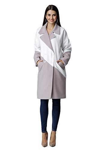 Figl klassischer, lockerer, zweifarbiger Mantel mit Kragen, Größe S, Beige-Weiss