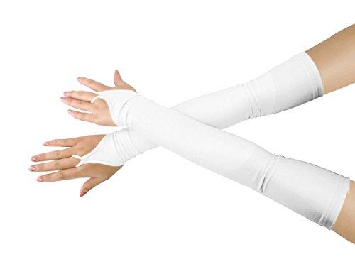 lucky baby store Mädchen 'Boys' Erwachsene Halloween Make-Up Fingerlose Über Elbow Cosplay Kostüm Handschuhe (white) (Natürliche Halloween-make-up Weiße)