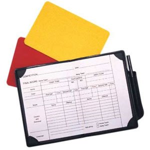 Red, yellow card in PVC case with note sheet and pencil.
