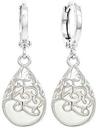 1c52f6c40eae Decorado plata blanco piedra lunar pendientes de gota con Real 925 de plata  de ley y