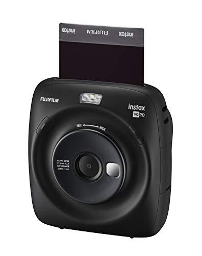 Fujifilm instax square sq20 fotocamera istantanea e digitale con micro sd, registra video e stampa in formato quadrato 62x62 mm, nero