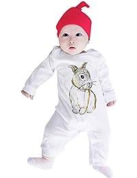 QinMM Mono Infantil Estampado Conejo de Dibujos Animados bebé niño niña  Manga Larga Body Jumpsuit Pijamas ac3a078750c5