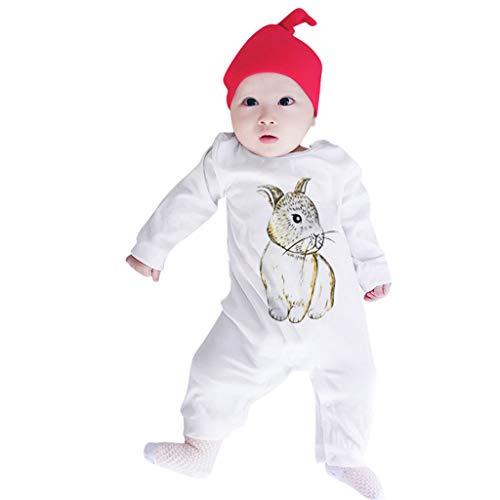 (ALISIAM Winter Weihnachten Baby Unisex schön Mode Gemütlich Hautfreundlich Kaninchen drucken Lange Ärmel Strampelhöschen Kriechender Anzug Kinderkleidung)