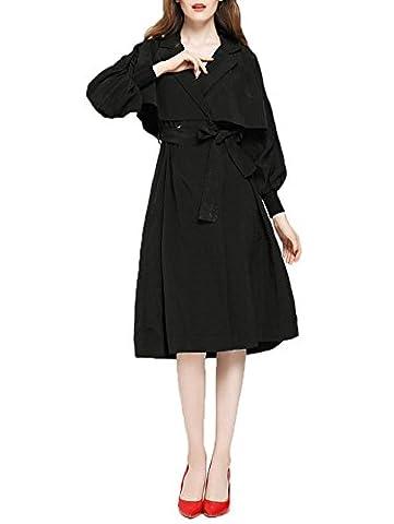 ZFANG Mantel Black Cloak Wind Lange Strickjacke Herbst und Winter Saison Mantel , black , s