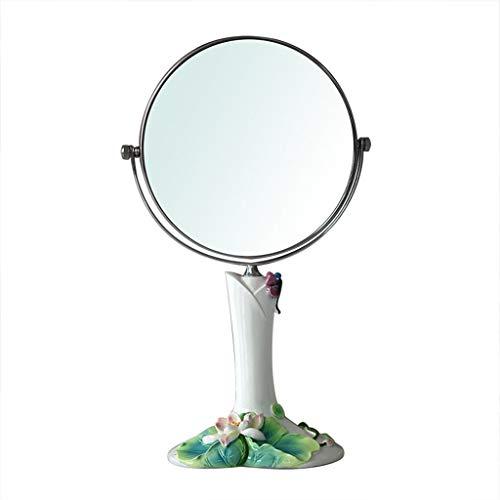 QXHELI Spiegel Lotus Leaf Schönheit Schminkspiegel mit Umkleidekabinett Double-Side Runde Resin High-Definition tragbarer Spiegel auf dem Spiegel (Größe : 8 Zoll). 8-inch