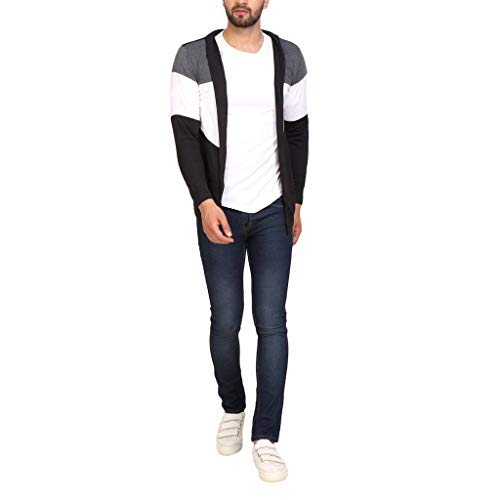 PAUSE Men's Solid Cotton Long Sleeve Round Neck Regular-Fit Shrug (Large,Black,PASRG03181189-BLK-L)
