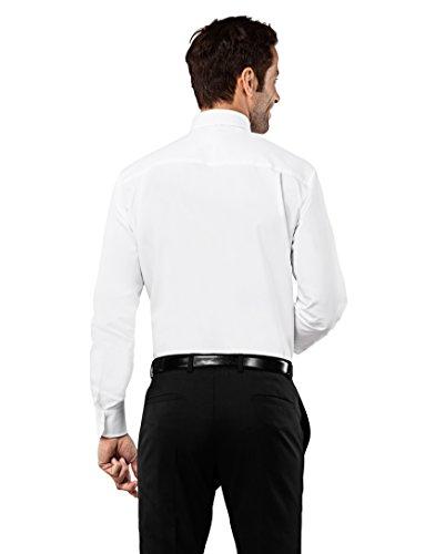 Vincenzo Boretti Herren-Hemd Bügelfrei 100% Baumwolle Regular-Fit New-Kent Kragen Uni-Farben - Männer Lang-Arm Hemden für Anzug mit Krawatte Business Hochzeit Freizeit Weiß