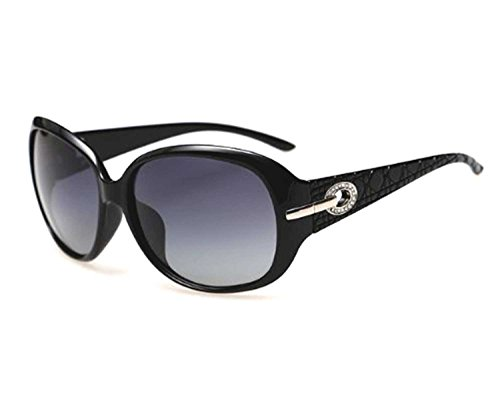 Di Grazia Womens Polarised Round Sunglasses with Designer American Diamond Rim (Black, Black-Diamond-Polarised-Sunglasses)
