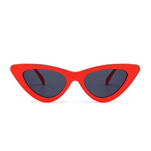 Jeewly Klassische Sportsonnenbrille, Cat Eye Sunglasses Women Small Black White Triangle Vintage Cheap Red Uv400