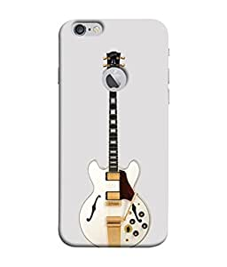 PrintVisa Designer Back Case Cover for Apple iPhone 6S (Logo View Window Case) (Cute Guitar In Yellow And White Design)