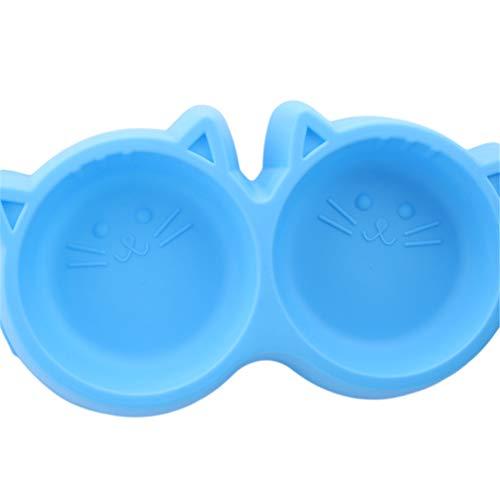 Toporchid Doppel-Futternäpfe Futter Wasser Feeder Für Hundewelpen Katzen Heimtierbedarf Futternäpfe (Blau)