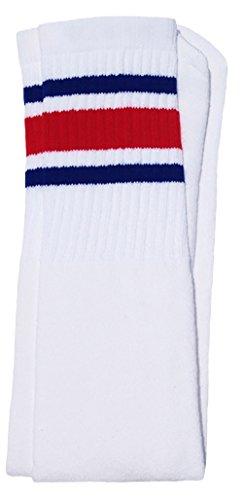 Skater Socken 76,2cm über dem Knie Tube Socks, Mädchen, White/Royal Blue-Red Stripes Style 3, 30