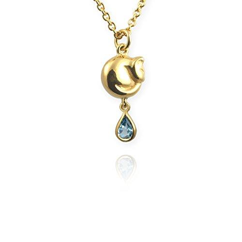 Jana REINHARDT Topaze Bleu Petit Chat 24carats Collier de 41-46cm 24 ct Gold Vermeil