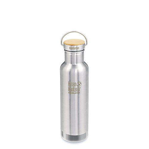 Klean Kanteen Reflect Doppelwandiger vakuumisolierter Edelstahl Kunststoff Freien Wasser Flasche mit Edelstahl und Bambus Gap, Edelstahl, gebürstet (8 Kunststoff-flasche Unzen)