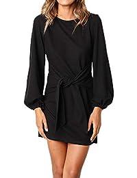 Frühling Herbst Minikleid Damen Freizeit Langarm Rundhals Kleid mit Bandage  Blusenkleider Mode Slim Kleider Wickelkleider Cocktailkleid 558f4c06e9