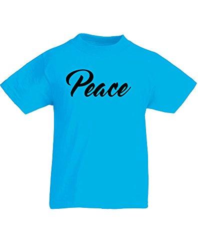Peace, Kind-druckten T-Shirt - Azurblau/Schwarz 3-4 Jahre (Buddha Peace T-shirt Top)