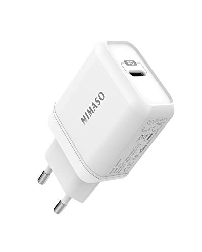 Nimaso PD Chargeur USB C 18W,USB Type C Chargeur Power Delivery 3.0/QC3.0/FCP Chargeur Rapide Compatible avec iPhone 11 Pro/Max/XR/X/XS/Max/8 Plus,Samsung S10/S9/S8,iPad Pro 2018,Huawei P30/P20
