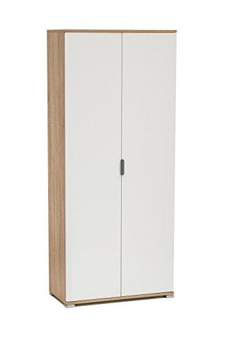 Memi me281l+s armadio due ante gia' montato, legno, sonoma/laccato bianco, 36.5x75x174 cm