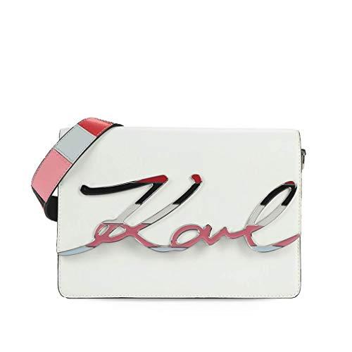 Signature Damen Leder Tasche (Karl Lagerfeld K/Signature SHOULDERBAG Umhängetaschen Damen Weiss - Einheitsgrösse - Umhängetaschen)