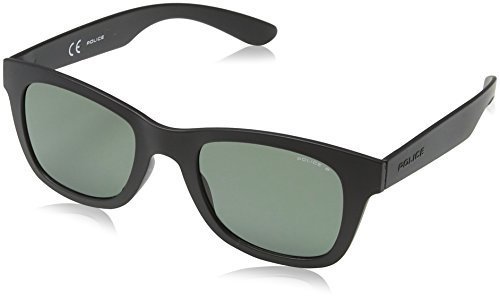 Police Herren S1944 Exchange 1 Wayfarer Sonnenbrille, SEMI-MATT BLACK & GREY FRAME / DARK GREY LENS