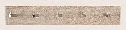 Vier Garderobenleisten in Eiche-chrom aus MDF; Maße: 57x5x8