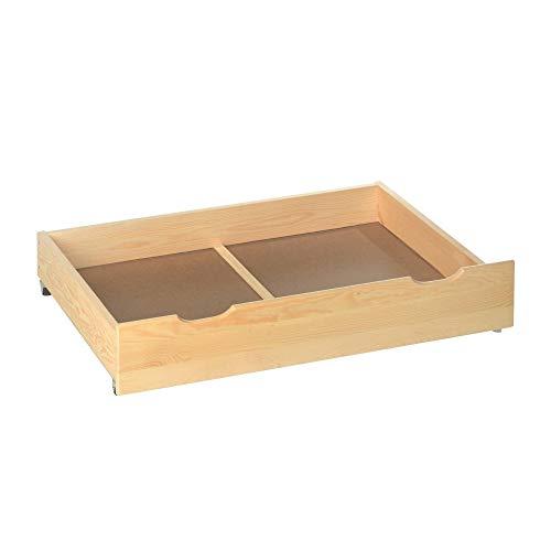 acerto 20040 2X Bettschublade Holz für Bettgestell * Robust * Massives Kieferholz * Rollen | Bettkasten, Bettauszug mit Rollen | Rollbettkasten, Rollcontainer zur Aufbewahrung von Bettwäsche