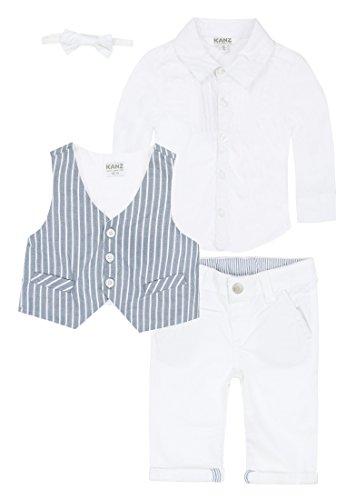 Kanz Jungen Anzug Weste + Hemd 1/1 Arm + Hose, Weiß (bright White 1000), 86