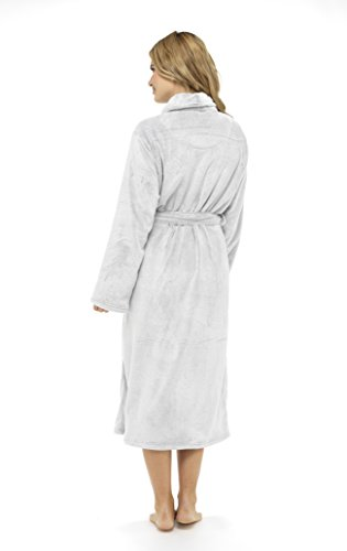 CityComfort® Luxus Bademantel Damen Super Soft Robe mit Fell gefüttert mit Kapuze Plüsch Bademantel für Frauen-perfekte Geschenk Silber
