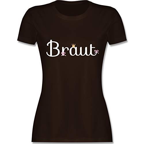 JGA Junggesellinnenabschied - Braut mit Krone und Schleifchen - XL - Braun - L191 - Damen T-Shirt ()