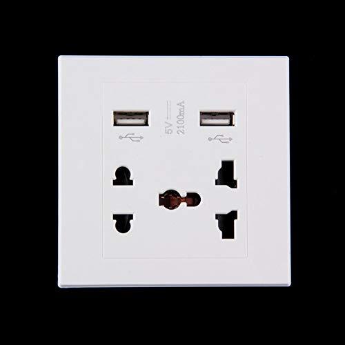 Doppelter USB-Anschluss 5V 2100MA Ladegerätanschluss Docking-Buchse Steckdose Strom Wechselstrom-Bedienfeldplatte - Weiß Cell-docking-station
