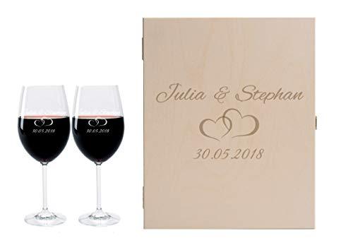 2 Leonardo Weingläser mit Geschenkbox und Gravur Paar Wein-Glas graviert Hochzeit Geschenkidee Verlobung