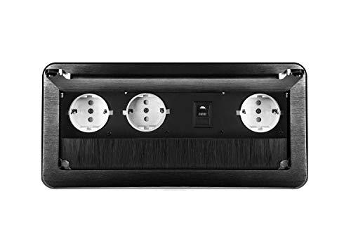 M64 - Einbausteckdose in verschiedenen Farben - wahlweise mit oder ohne Internetanschluss (3er + Internet schwarz)