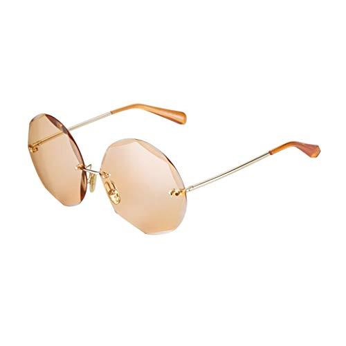 YIWU Diamantschnittkante Sonnenbrille Mädchen Erhöhen Rahmen Runde Lange Gesicht Sonnenbrille 2019 Neue Persönlichkeit Brille Harajuku Stil (Color : 3)