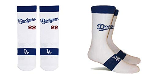 PKWY by Stance Herren 2er-Pack Los Angeles Dodgers Team & Clayton Kershaw #22 Player Uniform-Socken, Unisex, weiß, X-Large -