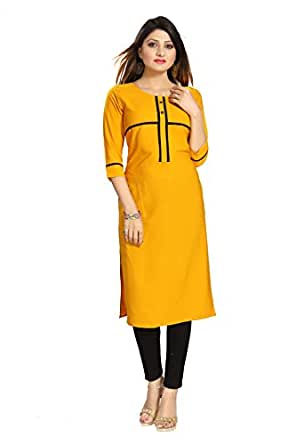ALC Creation Women's Straight Kurta (ALC2070NAVY_Yellow_x-small)